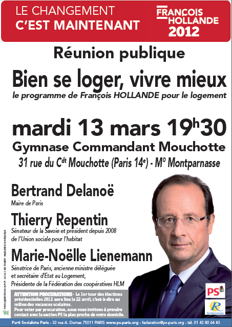 Meeting logement paris 13 mars